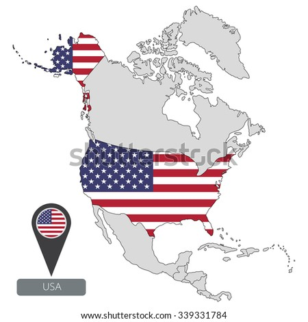 Map Usa Official Flag Location North Stock Vector 339331784