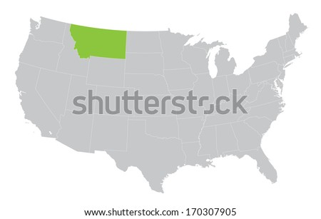 map of USA with indication of State of Montana - stock vector