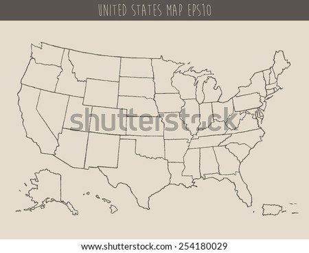 Map of USA with separable borders, hand drawn vector illustration, sketch - stock vector