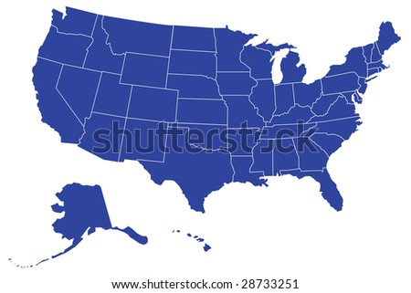 Map of USA with separable borders of each State (Vector Art)  The .eps file lets you use each state individually. Scalable to any size! - stock vector