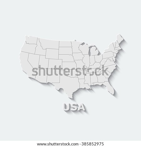 Map of USA with separable borders on a light background. Creative design. Vector illustration. - stock vector