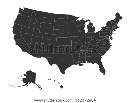 Map Usa State Names Stock Vector Shutterstock - Map of the us with state names