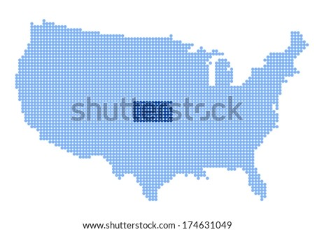 Map of USA with stylized map of Kansas made from blue dots (vector) - stock vector