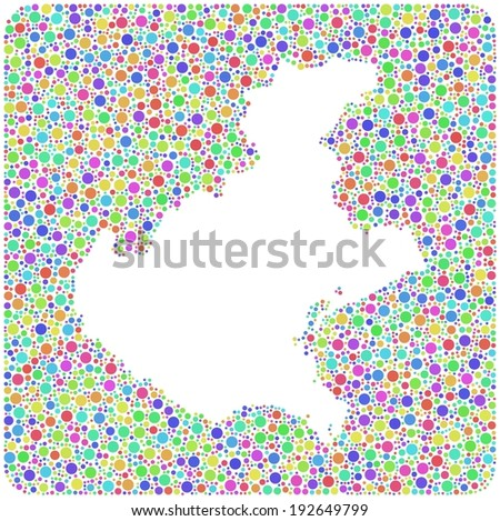 Map of Veneto - italy - in a mosaic of harlequin bubbles