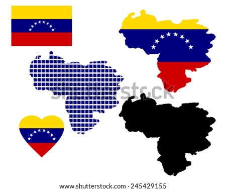 map of Venezuela and different types of symbols on a white background - stock vector