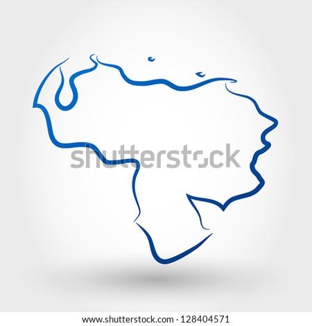 map of venezuela. map concept - stock vector