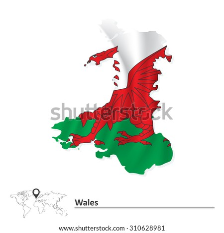 Map of Wales with flag - vector illustration - stock vector