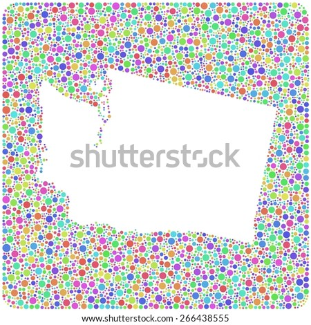 Map of Washington - USA - into a square icon. Mosaic of harlequin circles - stock vector
