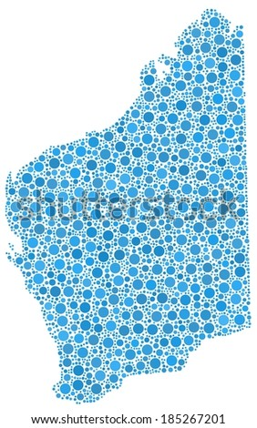Map of Western Australia in a mosaic of blue bubbles - stock vector