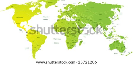 Map of world - stock vector