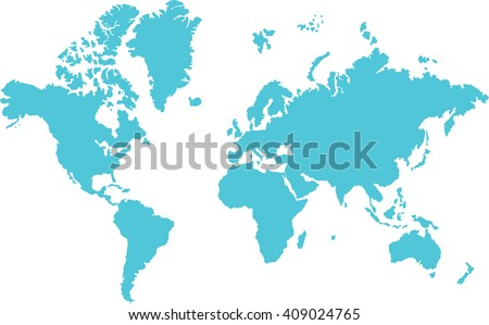 Map of world  illustration vector. Isolated on white. Continents graphic design. Blue world map icon. World map silhouette for www. - stock vector