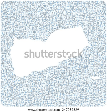 Map of Yemen into a square icon. Mosaic of colored bubbles - stock vector