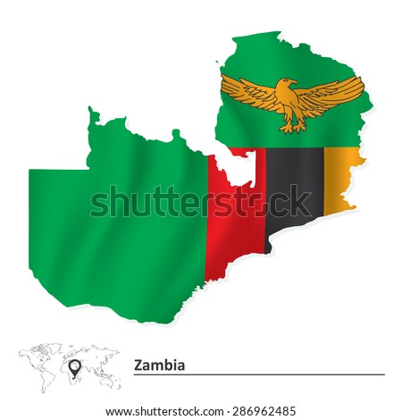 Map of Zambia with flag - vector illustration - stock vector