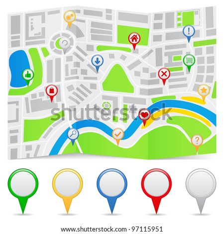 Map on a folded paper and map markers, vector eps10 illustration
