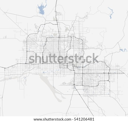 Map Phoenix City Arizona Roads Stock Vector Shutterstock - City map of arizona