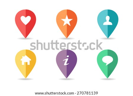Map pin icon. Flat style - stock vector