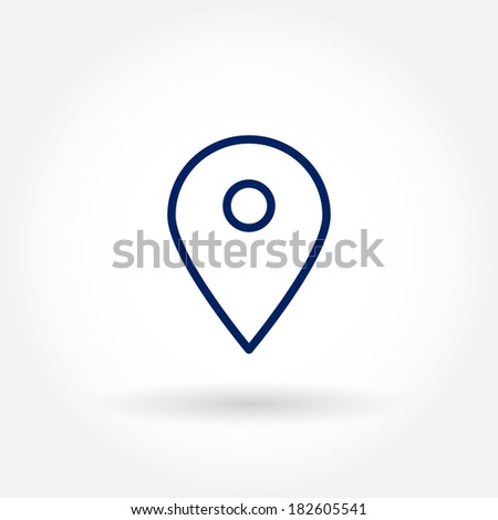 Map pin icon. Location, positioning, map and cartography concept illustration. Modern line icon design. Modern line icon design. Modern icons for mobile interface. Vector illustration.  - stock vector