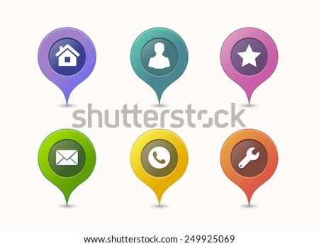 Map pin icons in different colors - stock vector