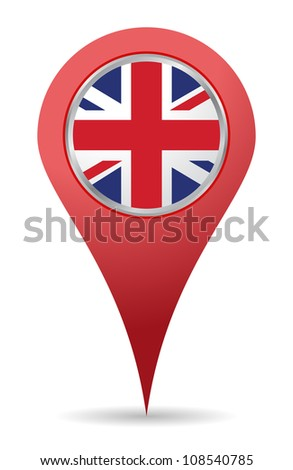 map pin location of united kingdom - stock vector