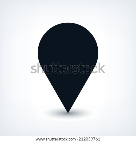 Map pin location sign circle icon in flat style. Simple black shapes with gray gradient oval shadow on white background. This web design element vector illustration save in 8 eps - stock vector