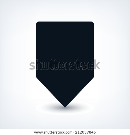 Map pin location sign rounded square icon in flat style. Simple black shapes with gray gradient oval shadow on white background. This web design element vector illustration save in 8 eps - stock vector