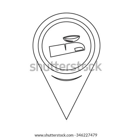 Map Pin Pointer Contact Lens icon - stock vector