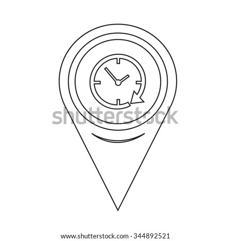 Map Pin Pointer 24 hour clock Icon - stock vector