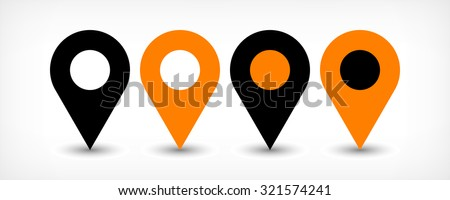 Map pin sign location icon with gray shadow in flat simple style. Four variants in two color black and orange rounded shapes isolated on white background. Vector illustration web design element 8 EPS