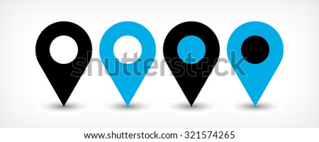 Map pin sign location icon with gray shadow in flat simple style. Four variants in two color black and blue rounded shapes isolated on white background. Vector illustration web design element 8 EPS - stock vector