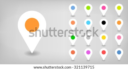 Map pin sign location icon with shadow in flat simple style. White, black, blue, cobalt, yellow, green, red, magenta, orange, pink, violet, purple, gray, brown shapes on gray background. Vector 8 EPS - stock vector