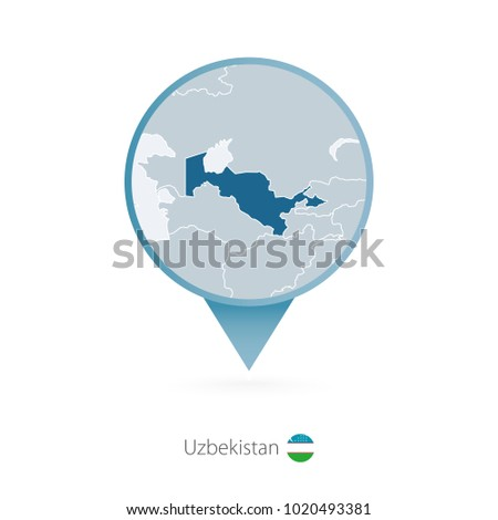 Map pin detailed map turkmenistan neighboring stock vector map pin with detailed map of uzbekistan and neighboring countries sciox Image collections