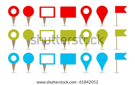 map pins in colors, red, green and blue - stock vector