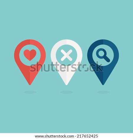 Map pins set. Flat design. Vector illustration - stock vector