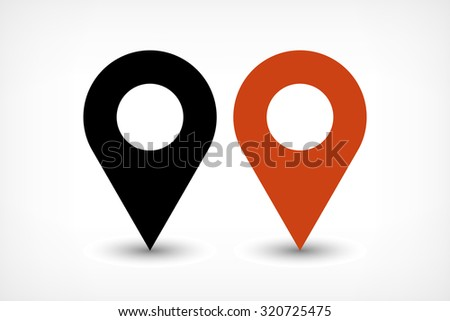 Map pins sign location icon with ellipse gray gradient shadow in flat simple style. Black and brown color rounded shapes isolated on white background. Vector illustration web design element 8 EPS - stock vector