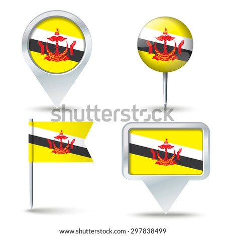 Map pins with flag of Brunei - vector illustration - stock vector