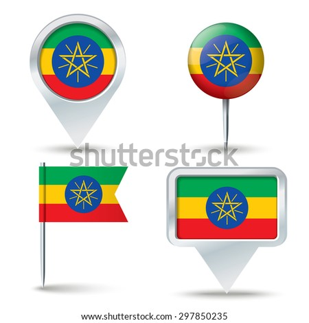 Map pins with flag of Ethiopia - vector illustration - stock vector