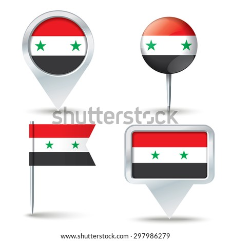 Map pins with flag of Syria - vector illustration - stock vector