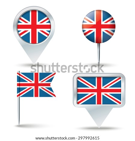 Map pins with flag of United Kingdom - vector illustration - stock vector