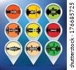 Map pins with London, Paris, Rome, Barcelona, Edinburgh, Zurich, Budapest, Krakow and Pisa - vector illustration - stock vector