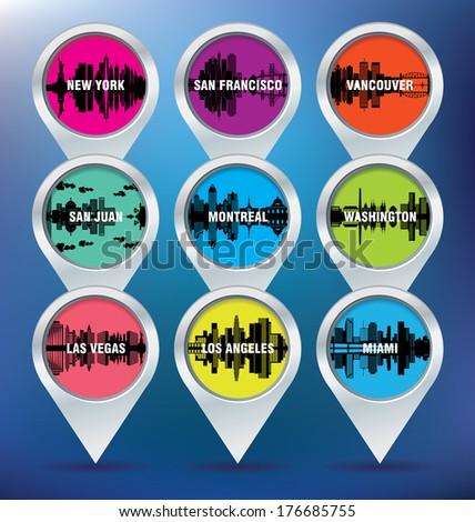 Map pins with New York, San Francisco, Vancouver, Puerto Rico, Montreal, Washington, Las Vegas, Los Angeles and Miami - vector illustration - stock vector