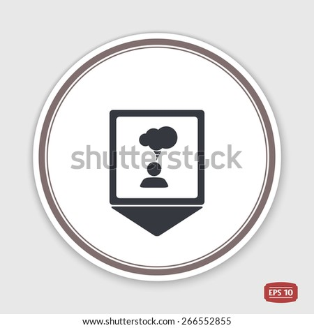 Map pointer. A person with a cloud. Human thought bubble above his head. Emblem or label with shadow. Flat design style. Made in vector illustration - stock vector