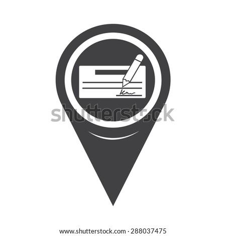 Map Pointer cheque icon - stock vector