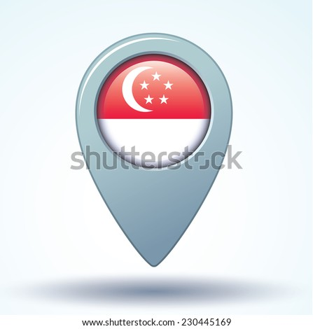 map pointer flag of Singapore, vector illustration - stock vector