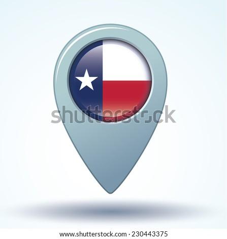 map pointer flag of Texas, vector illustration - stock vector