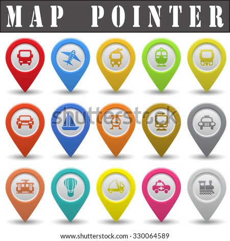 Map pointer for transport. - stock vector