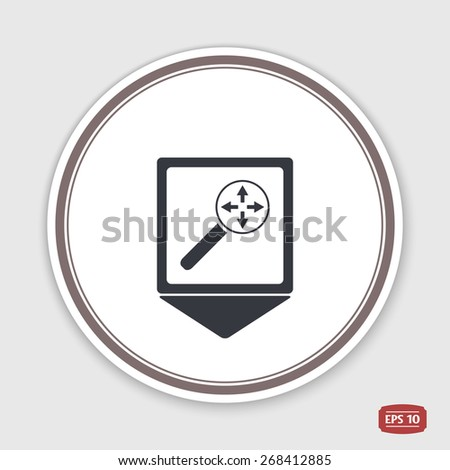 Map pointer. Four arrows icon. Direction indicator. Flat design. Made in Illustrator vector - stock vector