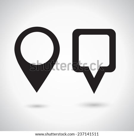 Map Pointer Icon. Location marker symbol. Round and square shape. Vector illustration. - stock vector