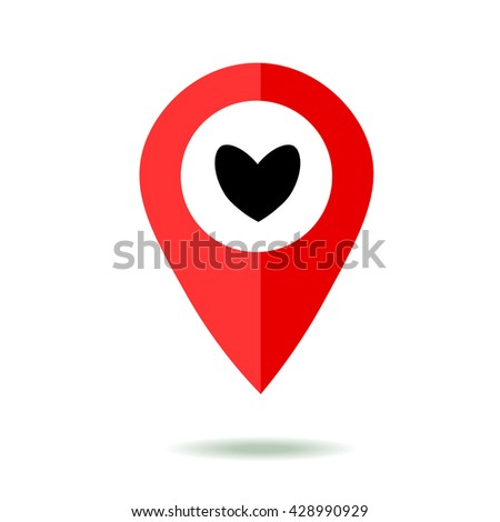 Map pointer icon set with heart symbol. GPS location sign. Flat design style. Isolated On White - stock vector
