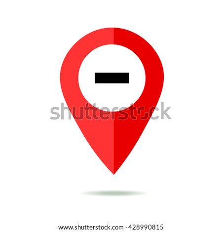 Map pointer icon set with minus. GPS location sign. Flat design style. Isolated On White - stock vector