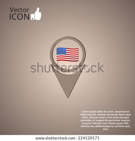 Map pointer icon with american flag. Made in vector - stock vector